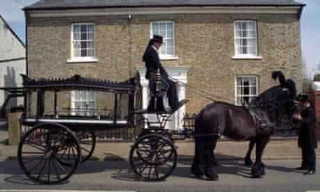 A horse-drawn hearse