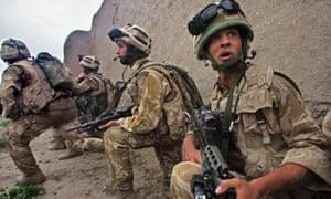 British Royal Marines under fire in Helmand.