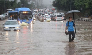 Flooded roads in South Korea