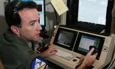 Soldier controls unmanned aerial vehicle from Las Vegas