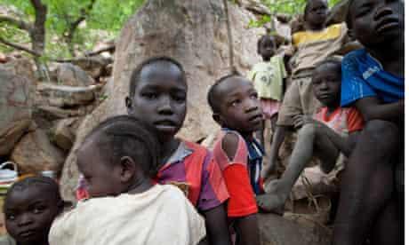 nuba mountains children flee sudan