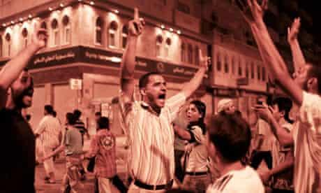 Demonstrators in Hama, Syria.