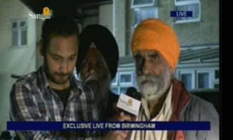 A still from Sangat TV's coverage of the rioting in Birmingham