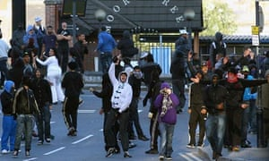 Young people in Birmingham during riots