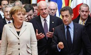 Angela Merkel George Papandreou Nicola Sarkozy