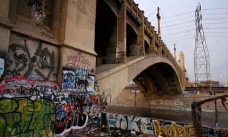 The 4th Street Bridge, which crosses the LA River