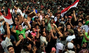 Egyptians chant anti-Israeli slogans following the deaths of three soldiers.