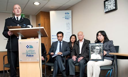 Simon San's family attend a police press conference