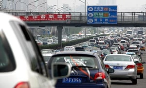 A traffic jam along a main road in central Beijing.