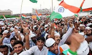 Supporters of anti-corruption activist Anna Hazare, in New Delhi.
