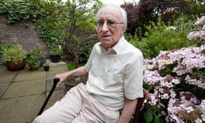 Harold Stern, sitting in his garden