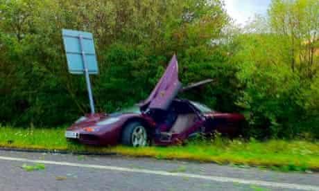 Rowan Atkinson's crashed McLaren F1 car