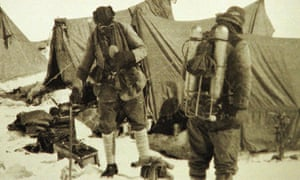 Andrew Irvine and George Mallory prepare for their final ascent to Everest's summit