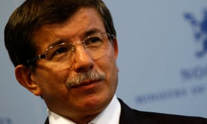 Ahmet Davutoglu attends a news conference after his meeting with Jonas Gahr Stoere in Oslo