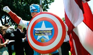 A Tea Party supporter campaigns against the debt-limit raise