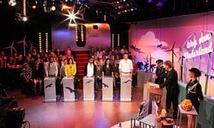 A scene from the recording of Weg van Nederland.