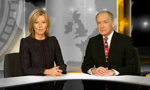 The newscasters Mary Nightingale and Alistair Stewart on the 6pm ITV News
