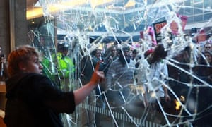 Broken window at Conservative party central office during 2010 student protests