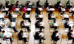 Schoolchildren sitting for exams