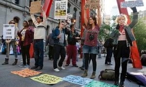 Anti-capitalist demonstrators near Wall St