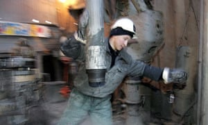 A worker at a former Yukos platform