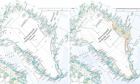 Maps of Greenland in the Times Comprehensive Atlas Of The World in its 1999 (l) and 2011 editions.