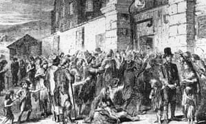 Starving peasants clamour at the gates of a workhouse during the Irish potato famine.