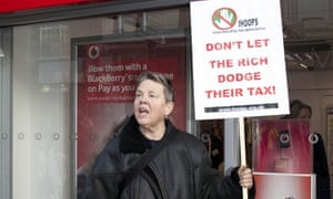 UK Uncut demonstrate in front of Vodafone