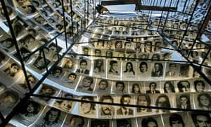 Photographs of Argentina's disappeared hanging around the Plaza de Mayo monument