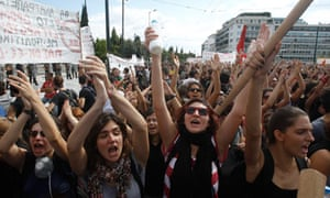 Students in Athens march against austerity measures on Thursday