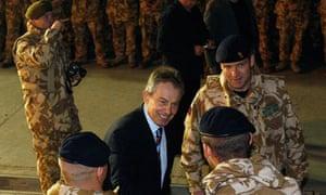 Britain's Prime Minister Tony Blair visits British troops in Basra