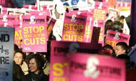 Demonstrators education cuts