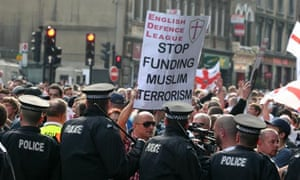 Police contain EDL protesters in London, September 2011