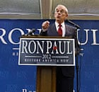 Ron Paul speaks during a campaign stop in Le Mars, Iowa.