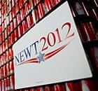 A sign for Newt Gingrich at Atlantic Bottling, in Atlantic, Iowa,