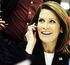Michele Bachmann takes calls from voters in Des Moines, Iowa.