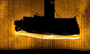 A sonar scan showing the position of the submarine HMS Olympus