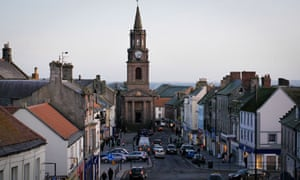 Looking down Marygate towards the old town hall in Berwick-upon-Tweed