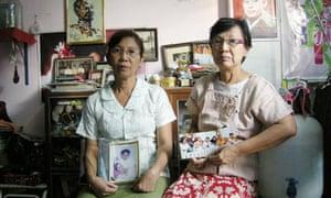 (l-r) Su Su Kyi, 55, and San San Tin, 64