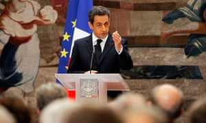 President Nicolas Sarkozy speaking at the Elysée Palace hours before France lost its AAA rating