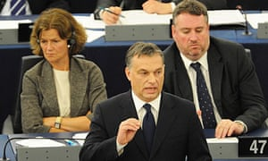 The Hungarian prime minister, Viktor Orban, at the European parliament in Strasbourg.