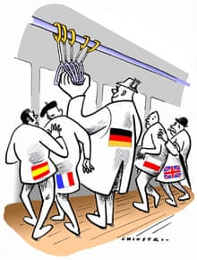 Europa cartoon on Germans by Gianni Chiostri