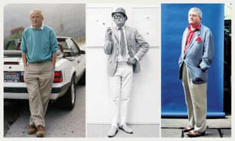 The artist David Hockney in 1988, 1966 and 1995.