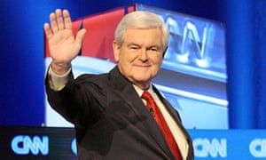 Newt Gingrich at the Republican presidential debate in South Carolina