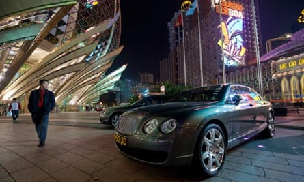 Bentley cars parked outside the Grand Lisboa Casino in Macau