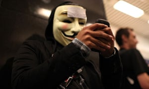 A demonstrator from the hacker group Anonymous, August 2011