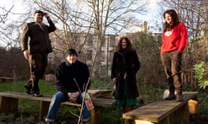 Artists Roger Smith, Geoff Routh, Julie Norburn of Art4Space, and Theresa Paiva at Stockwell Studios