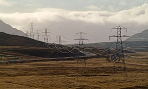 Electricity pylons near Dalwhinnie in the Scottish Highlands