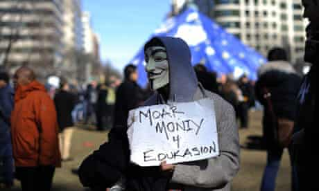 An Occupy DC protester in McPherson Square Park, Washington, January 2012