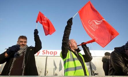 Unilever workers on strike